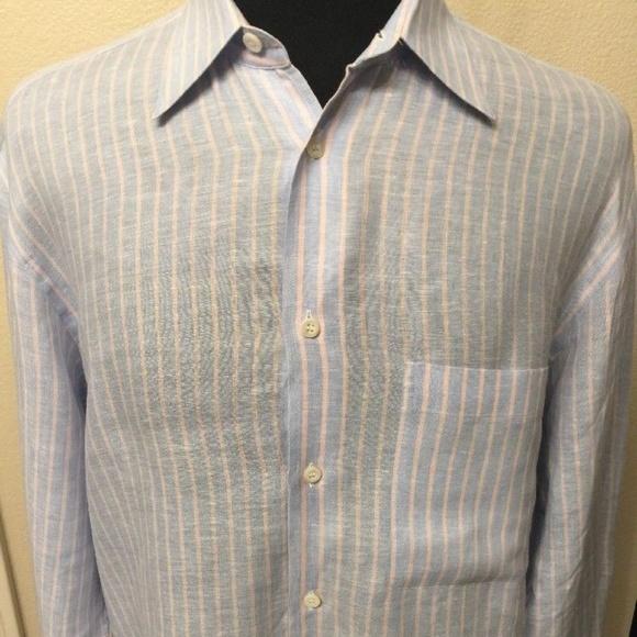 Brioni Mens Purple Linen Long Sleeve Shirt Size L